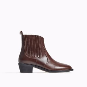 Zara girls leather cowboy brown boots.